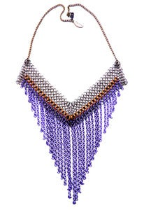 Image of Tonal purple chain and chainmaille fringed necklace
