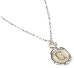 Image of Personalised Polished Silver/Oxidised Wax Seal Necklace (A-Z)