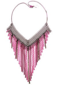 Image of Tonal pink chain, chainmaille and crystal fringed necklace + colors
