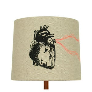 Image of Anatomy Lamp Shade - Heart, with Neon Embroidery