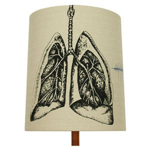 Image of Anatomy Lamp Shade - Lungs No. 1, with Blue Embroidery