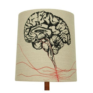 Image of Anatomy Lamp Shade - Brain, with Red Embroidery