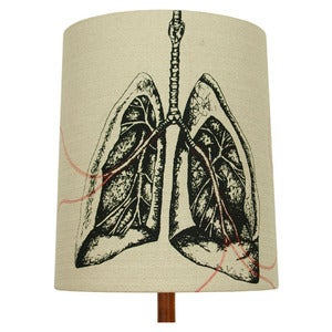 Image of Anatomy Lamp Shade - Lungs No. 1, with Red Embroidery