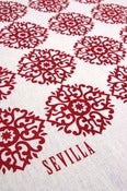 "Image of ""Sevilla"" handprinted fabric {red} + {turquoise}"