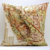 "Image of Vintage CALIFORNIA Map Pillow, Made to Order 18"" x18"" Cover"