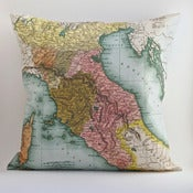 Image of Vintage TUSCANY Map Pillow, Made to Order 18&quot;x18&quot; Cover