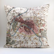 Image of Vintage PARIS + ENVIRONS Map Pillow, Made to Order 18&quot; x18&quot; Cover