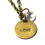 Image of birthstone love necklace - antiqued brass