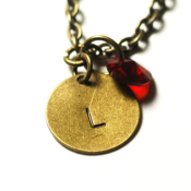 Image of january initial necklace - antiqued brass