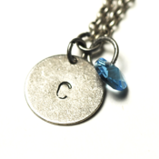 Image of march initial necklace - silver