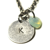Image of august initial necklace - silver