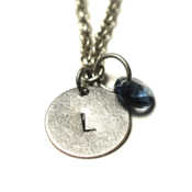 Image of september initial necklace - silver