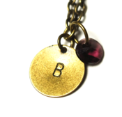 Image of february initial necklace - antiqued brass