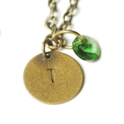 Image of may initial necklace - antiqued brass