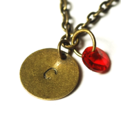 Image of july initial necklace - antiqued brass