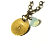 Image of august initial necklace - antiqued brass