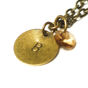 Image of november initial necklace - antiqued brass