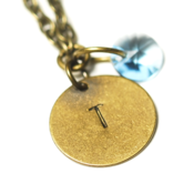 Image of december initial necklace - antiqued brass
