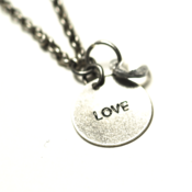 Image of birthstone love necklace - silver