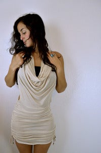 Image of Sinch Dress w/ Drapery Cowel- Cream