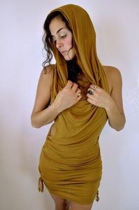 Image of Sinch Dress w/ Drapery Cowel- Mustard