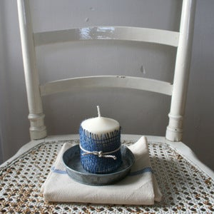 Image of Zinc Saucer with Candle and Vintage Towel
