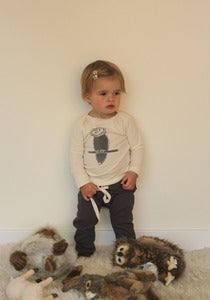 Image of Organic Cotton Textured Graphic Tee - Owl, Squirrel, and Porcupine