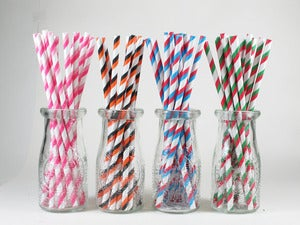 Image of Triple Stripe Paper Straws