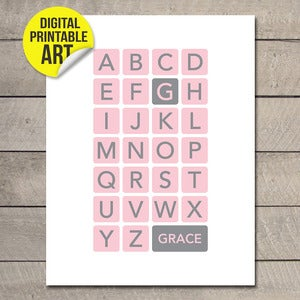 Image of Custom Baby Name Alphabet Printable JPEG or PDF (choice of 8 colours)