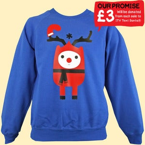 Image of Rudy Reindeer Text Santa Christmas Sweatshirt - Unisex Adult