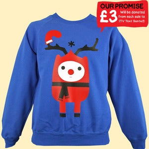 Image of Rudy Reindeer Text Santa Christmas Sweatshirt - Kids