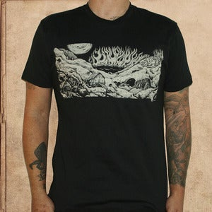 Image of fahrenheit 451 burning city - black - discharge ink