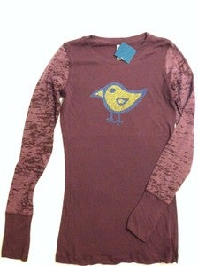 Image of bird - ladies combo long sleeve - plum
