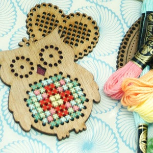 Image of Owl Timber Cross Stitch Kit