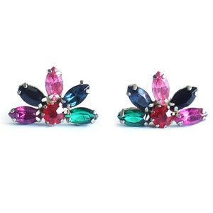 Image of Vintage 1940s Floral Rainbow Paste Glass Earrings