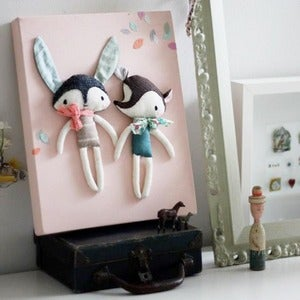 Image of CREATURE CANVAS - rabbit & bear