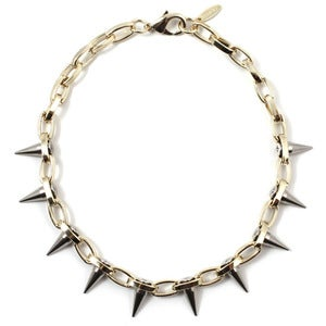 Image of Metal-Luxe Single Row Spike Choker - Gold/Silver Spikes