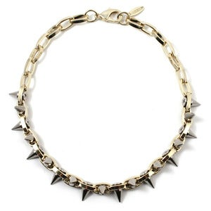 Image of Metal-Luxe Double Row Spike Choker - 16K Gold/Silver Spikes