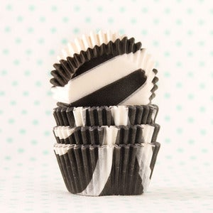 Image of Black Zebra Mini Cupcake Liners