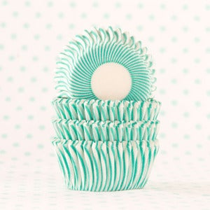 Image of Turquoise Pin Stripe Mini Cupcake Liner