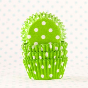 Image of Lime Green Dot Mini Cupcake Liners