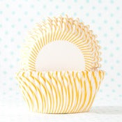 Image of Yellow Pin Stripe Cupcake Liner