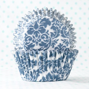 Image of Blue Damask Cupcake Liner