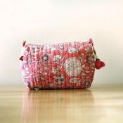 Image of Anokhi Cotton Makeup Cosmetic Bag Pink