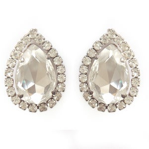 Image of Vintage Oversized 1950s Tear Drop Paste Rhinestone Clip On Earrings