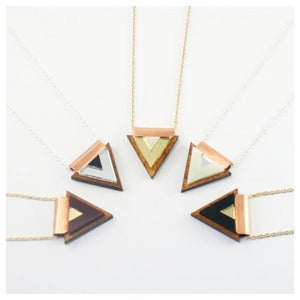 Image of Overlay Triangle Necklace - Wood