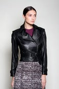 Image of Belted Leather Jacket