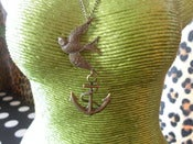 Image of Tattoo Vintage Style Antique Brassy Gold Swallow & Anchor Rockabilly Tattoo Kitsch Retro Necklace