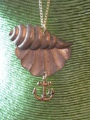Image of Vintage Large Seashell Brass Pendant Necklace with Anchor Charm Detail Rockabilly Nautical Seaside