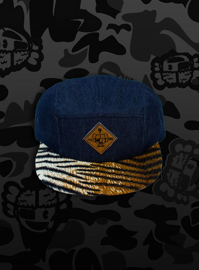 Image of 'Michelangelo' - 3 K.N.G.'s Blue/Tiger Chambray 5-Panel Cap